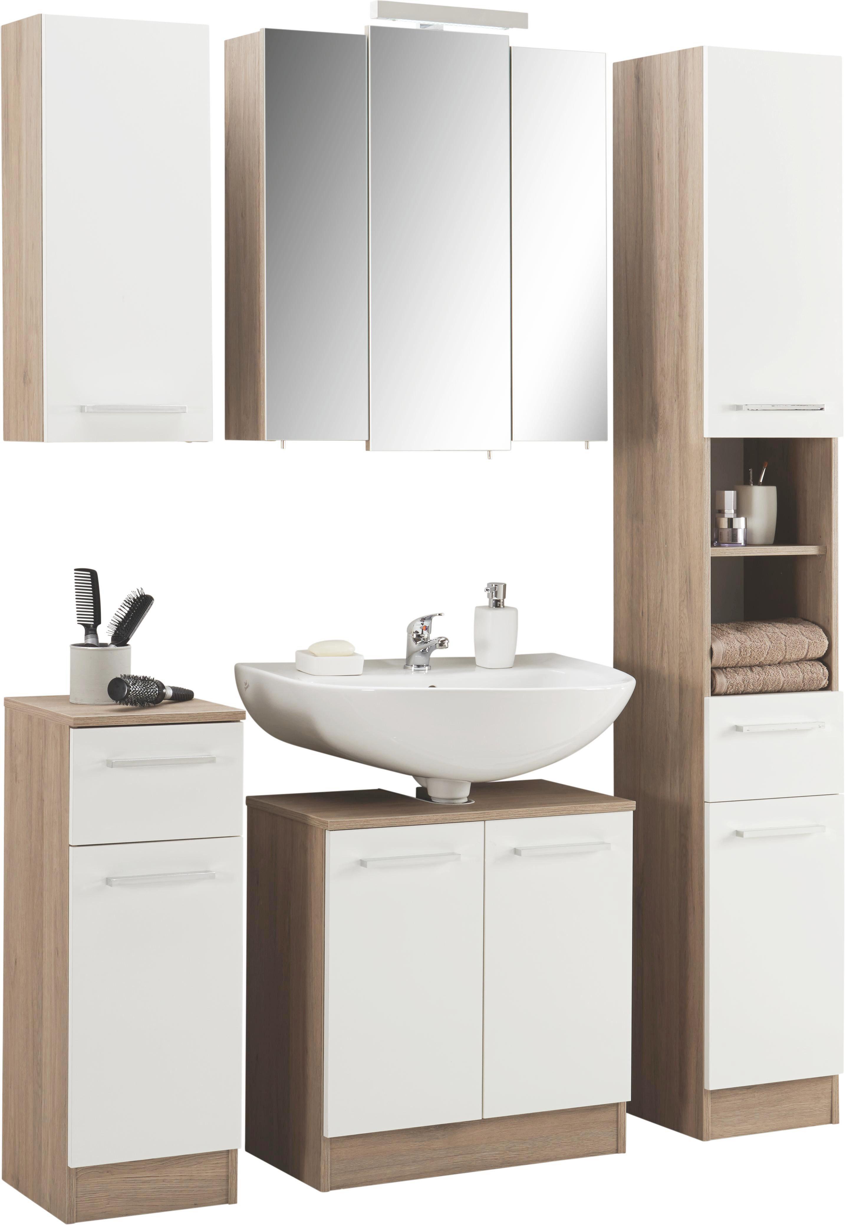 HÖGSKÅP - vit/kromfärg, Design, metall/träbaserade material (30/195,5/33cm) - Xora