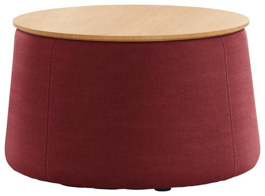 HOCKER Eiche Eichefarben, Rot - Eichefarben/Rot, Design, Holz/Textil (77/43cm) - Innovation