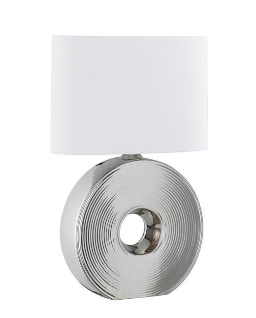 TISCHLEUCHTE - Silberfarben/Weiß, KONVENTIONELL, Textil/Metall (54cm)