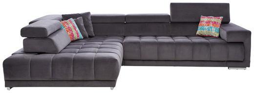 WOHNLANDSCHAFT in Textil Anthrazit - Chromfarben/Anthrazit, Design, Textil/Metall (222/323cm) - Beldomo Style