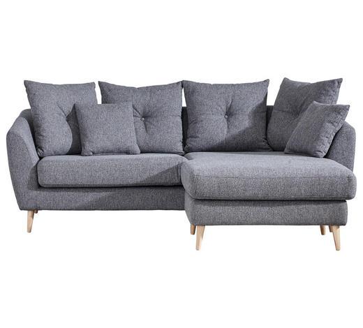 WOHNLANDSCHAFT Dunkelgrau Flachgewebe  - Dunkelgrau/Naturfarben, KONVENTIONELL, Holz/Textil (210/156cm) - Carryhome