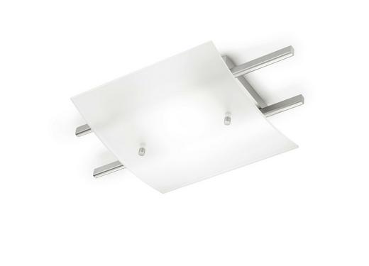LED-DECKENLEUCHTE - Weiß/Nickelfarben, LIFESTYLE, Glas/Metall (44cm)