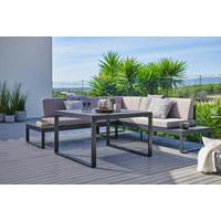 LOUNGE GARNITURA - tamno siva/svijetlo siva, Moderno, staklo/metal (222/219cm) - Ambia Garden