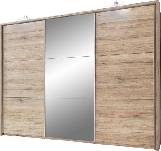 SCHWEBETÜRENSCHRANK 3-türig Eichefarben - Eichefarben/Alufarben, Design, Holzwerkstoff/Kunststoff (279/215/62cm) - Carryhome