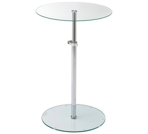 BEISTELLTISCH rund Klar, Chromfarben  - Klar/Chromfarben, Design, Glas/Metall (40/48,5/78/40cm) - Carryhome