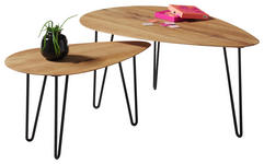COUCHTISCH in Holz, Metall 68/97/42/60/38/43 cm   - Eichefarben/Schwarz, Design, Holz/Metall (68/97/42/60/38/43cm) - Hom`in