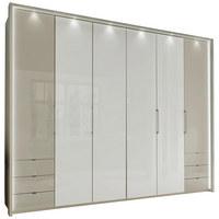 FALTTÜRENSCHRANK in Grau, Weiß - Weiß/Grau, Design, Glas/Holzwerkstoff (300/236/58cm) - Novel
