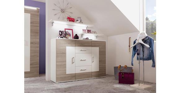 SIDEBOARD melaminharzbeschichtet Eichefarben, Weiß - Eichefarben/Alufarben, Design, Holzwerkstoff/Kunststoff (150/111,4/44,3cm) - Cantus