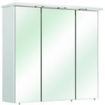 SPIEGELSCHRANK Weiß  - Alufarben/Weiß, KONVENTIONELL, Glas/Holzwerkstoff (75/72/20cm) - Carryhome