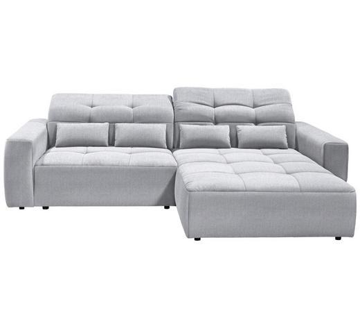 WOHNLANDSCHAFT in Textil Hellgrau - Hellgrau/Schwarz, MODERN, Kunststoff/Textil (298/202cm) - Hom`in