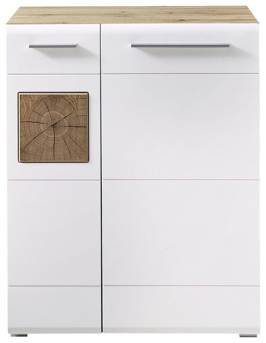 OMARA ZA ČEVLJE bela, hrast - bela/hrast, Konvencionalno, umetna masa/leseni material (80/101/37cm) - Voleo