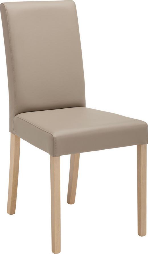 STUHL Lederlook Beige, Eichefarben - Eichefarben/Beige, KONVENTIONELL, Holz/Textil (44/91/56cm) - Carryhome