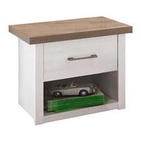 NOČNÍ STOLEK - bílá/barvy grafitu, Lifestyle, kov/dřevěný materiál (51/46/43cm) - CARRYHOME