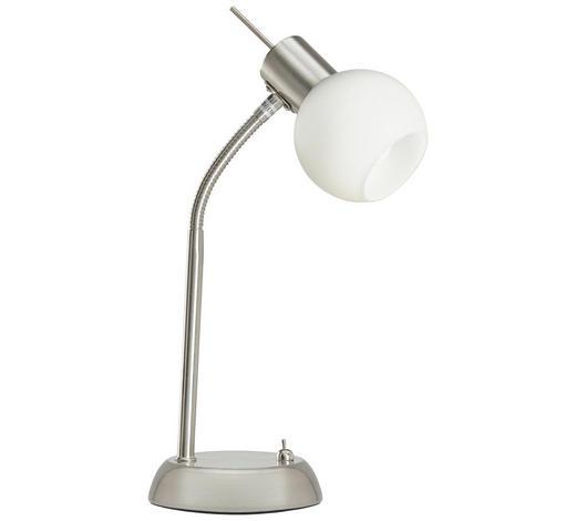 LED LAMPA NA PSACÍ STŮL - bílá/barvy niklu, Basics, kov/sklo (30cm) - Novel