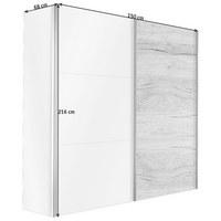SKŘÍŇ S POSUVNÝMI DVEŘMI, barvy grafitu, bílá - bílá/barvy grafitu, Design, kov/kompozitní dřevo (150/216/68cm) - Hom`in