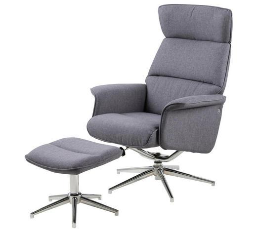 SESSELSET Flachgewebe Relaxfunktion    - Chromfarben/Dunkelgrau, Design, Textil/Metall (74/110/111cm) - Carryhome