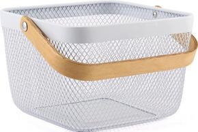 DEKORATIONSKORG - vit/ljusbrun, Design, metall/trä (25/25/17cm) - Homeware