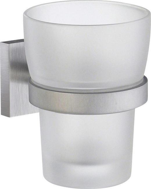 ZAHNPUTZBECHER Metall, Glas - Chromfarben, Basics, Glas/Metall (9,8cm)