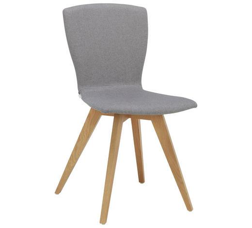STUHL in Holz, Textil Grau, Eichefarben  - Eichefarben/Grau, Design, Holz/Textil (47/88/53cm) - Lomoco