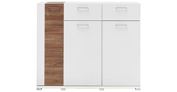 SCHUHSCHRANK 135/112/38 cm - Chromfarben/Weiß, Design, Holzwerkstoff/Metall (135/112/38cm) - Voleo