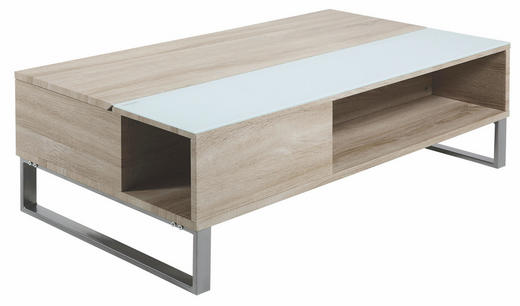 COUCHTISCH rechteckig Alufarben, Eichefarben, Weiß - Eichefarben/Alufarben, Design, Glas/Metall (110/60/35cm)