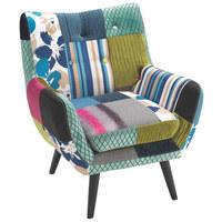 FOTELJ,  večbarvno tekstil - temno rjava/večbarvno, Design, tekstil/les (74/87/78cm) - Landscape