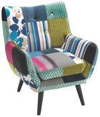 FOTELJA - tamno smeđa/višebojno, Design, tekstil/drvo (74/87/78cm) - HOM IN