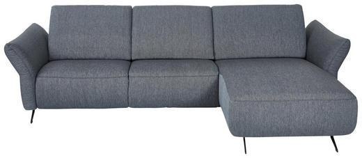 WOHNLANDSCHAFT Blau, Grau Flachgewebe - Blau/Anthrazit, Design, Textil/Metall (291/172cm) - Dieter Knoll