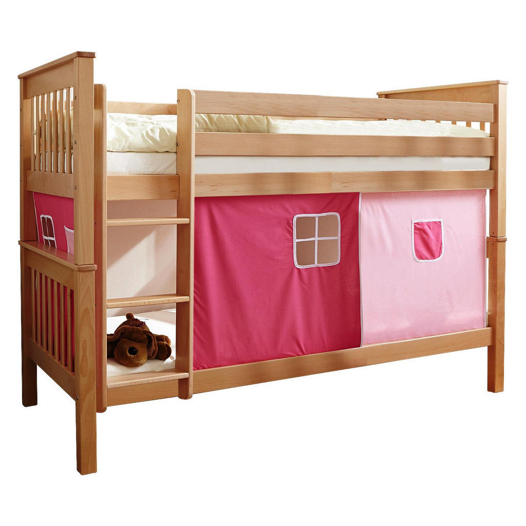 Carryhome ETAGENBETT Buche massiv 90/200 cm Rosa, Mehrfarbig | Kinderzimmer > Kinderbetten > Etagenbetten | Carryhome