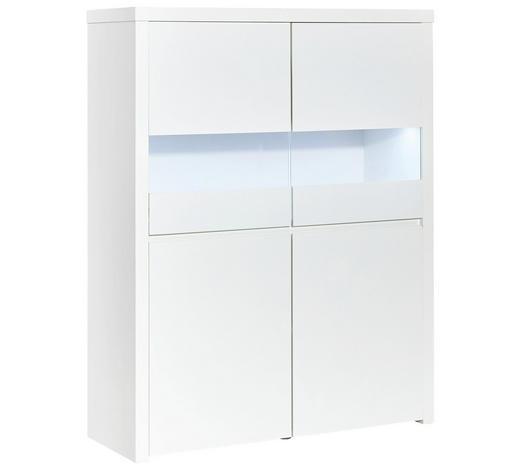HIGHBOARD Hochglanz, lackiert Weiß  - Weiß, Design, Holzwerkstoff (110/145,5/40cm) - Carryhome