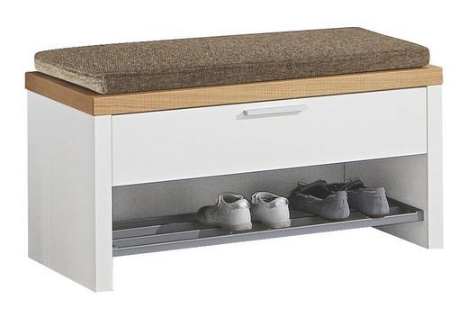 GARDEROBENBANK Eiche furniert Eichefarben, Weiß - Edelstahlfarben/Eichefarben, Design, Holz/Holzwerkstoff (85/43/40cm)