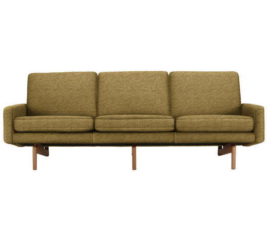 DREISITZER-SOFA in Textil Gelb - Gelb, Design, Holz/Textil (216/76/76cm)
