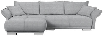 WOHNLANDSCHAFT in Textil Hellgrau - Chromfarben/Hellgrau, MODERN, Kunststoff/Textil (203/310cm) - Hom`in