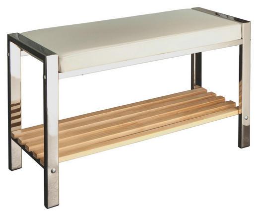 BADHOCKER - Chromfarben/Weiß, Design, Holz/Textil (80/48/31cm)