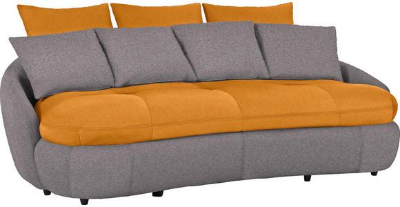 MEGASOFA in Textil Grau, Orange - Schwarz/Orange, Design, Kunststoff/Textil (238/80/143cm) - Hom`in