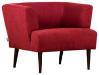 SESSEL Samt Rot - Rot/Schwarz, Design, Holz/Textil (85/71/80cm) - Hom`in