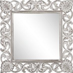 SPEGEL - vit/silver, Trend, glas/träbaserade material (90/90/2,2cm) - Ambia Home