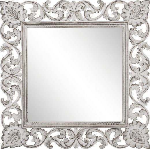 SPIEGEL - Silberfarben/Weiß, Trend, Glas/Holzwerkstoff (90/90/2,2cm) - Ambia Home