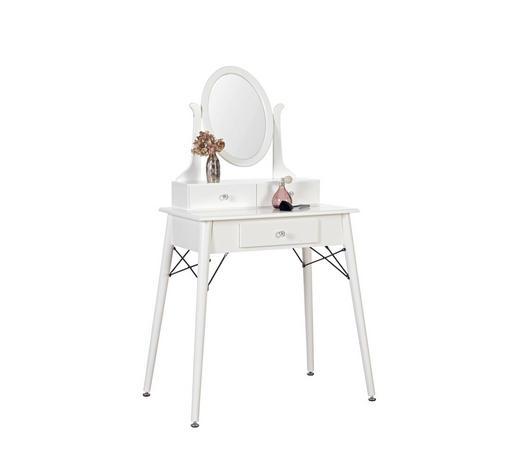 SCHMINKTISCH Kautschukholz vollmassiv Weiß  - Alufarben/Weiß, Design, Glas/Holz (70/137/40cm) - Carryhome