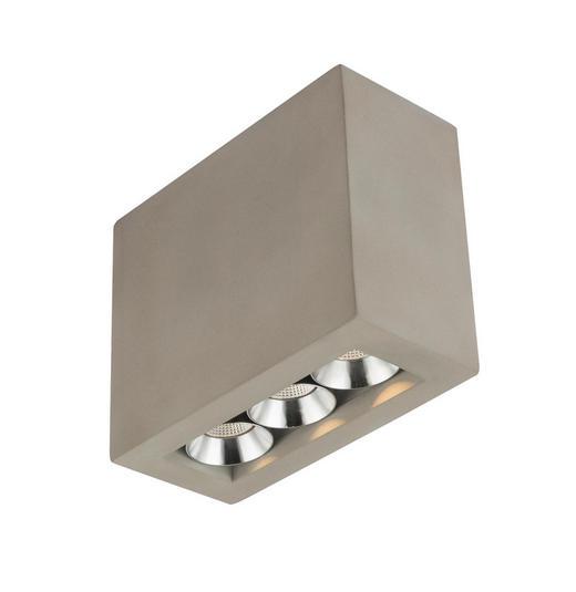 LED-DECKENLEUCHTE - Grau, KONVENTIONELL, Stein/Metall (12,2/5,6/10cm)