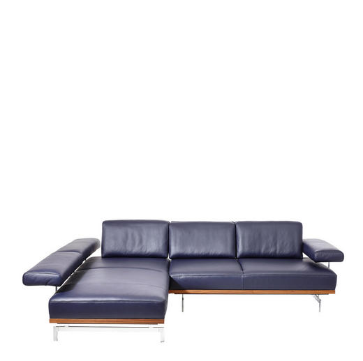 WOHNLANDSCHAFT Blau Echtleder - Blau/Alufarben, Design, Leder (237/295cm) - Joop!