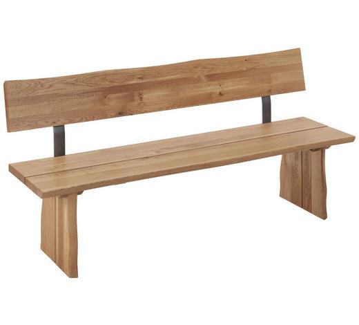 SITZBANK Wildeiche massiv Eichefarben  - Eichefarben, Design, Holz/Metall (180/87/46cm) - Linea Natura
