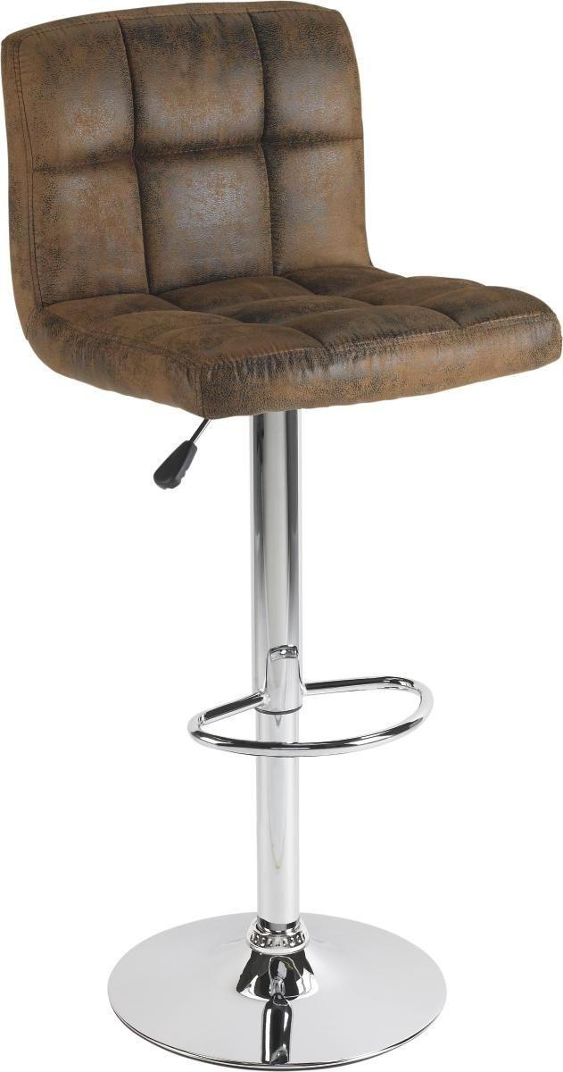 BARHOCKER in Metall, Textil Braun, Chromfarben - Chromfarben/Braun, Design, Textil/Metall (45/92-113/48cm) - CARRYHOME