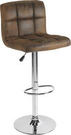 BARSKI STOL, krom, rjava - krom/rjava, Design, kovina/tekstil (45/92-113/48cm) - Carryhome