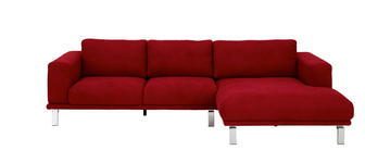 WOHNLANDSCHAFT Rücken echt - Rot/Silberfarben, Design, Textil (293/160cm) - Dieter Knoll