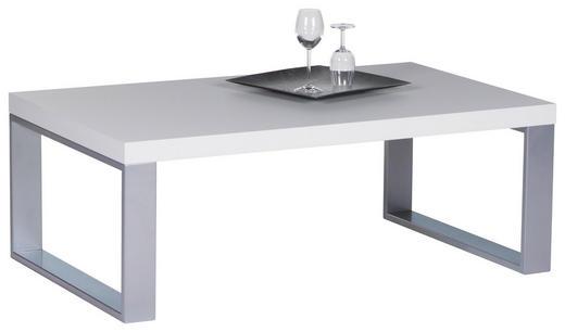 COUCHTISCH rechteckig Edelstahlfarben, Weiß - Edelstahlfarben/Weiß, Design, Metall (115/4370/43cm) - Carryhome