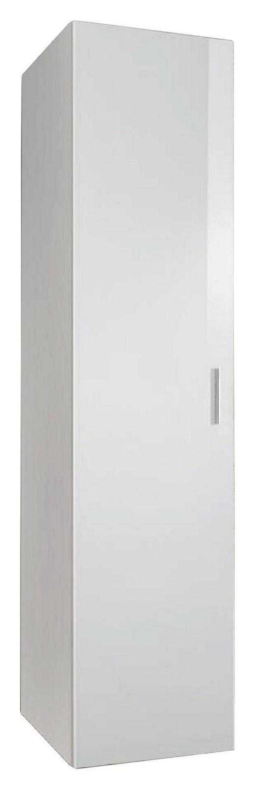 SCHRANK Hochglanz, lackiert Weiß - Chromfarben/Weiß, KONVENTIONELL, Holzwerkstoff/Kunststoff (45/185/54cm) - Xora