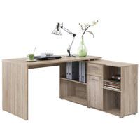 KOTNA PISALNA MIZA - hrast/krom, Design, umetna masa/leseni material (137/75/68cm) - CANTUS
