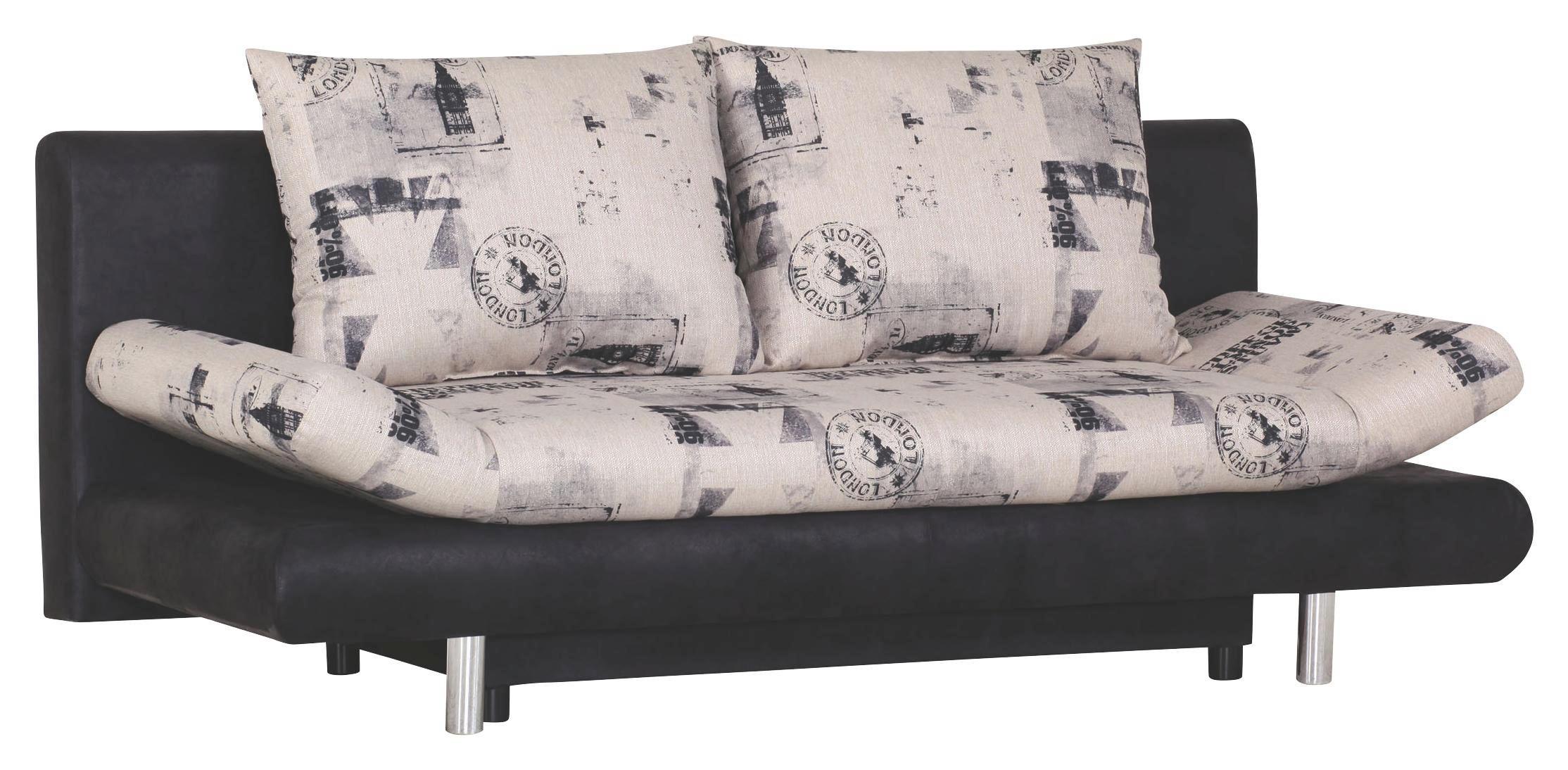 SCHLAFSOFA in Grau Textil - Chromfarben/Grau, Design, Kunststoff/Textil (194/73/91cm) - CARRYHOME