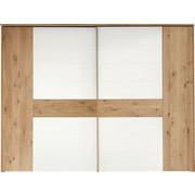 SCHWEBETÜRENSCHRANK in massiv Eiche Eichefarben, Weiß - Chromfarben/Eichefarben, Design, Glas/Holz (299,2/231/71,3cm) - Valdera